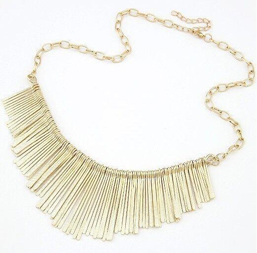 Gold Ladies Metal Multilayer Chain Tassels Choker Bib False Collar Long Necklace