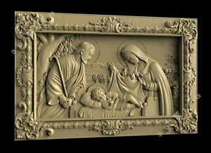 3D STL Model Christmas of Jesus 4 for CNC Router 3D Printer Engraver Artcam