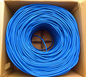 New-RJ45-Cat6e-LAN-Twisted-Cable-4-pair-Shielded-305m-Pull-Box-Blue-1000FT