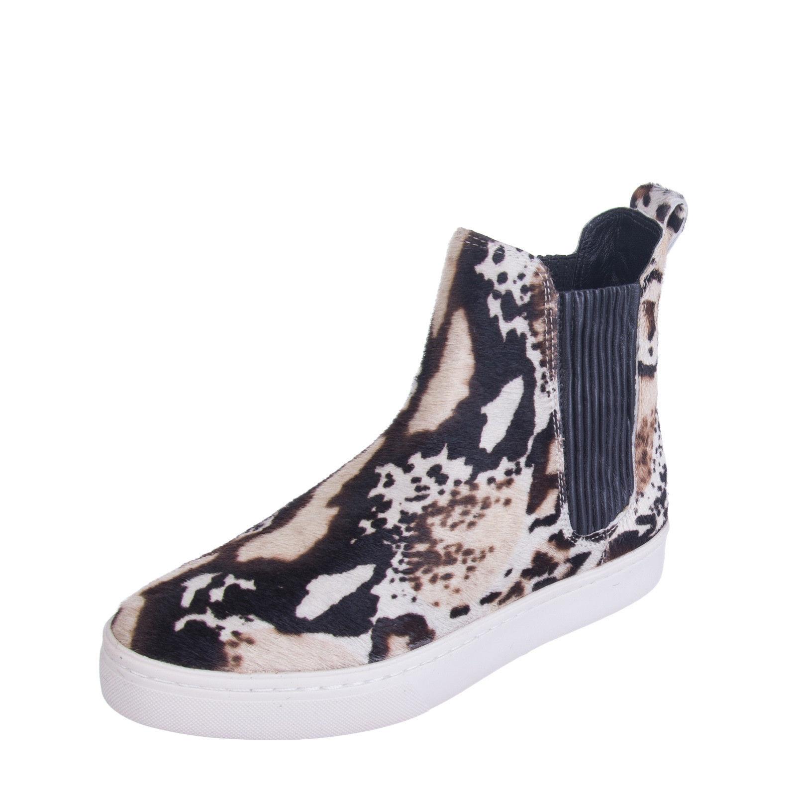 NEW LOEFFLER RANDALL Calf Hair Leather Sneaker 38 8.5 Ankle Chelsea Boots  350
