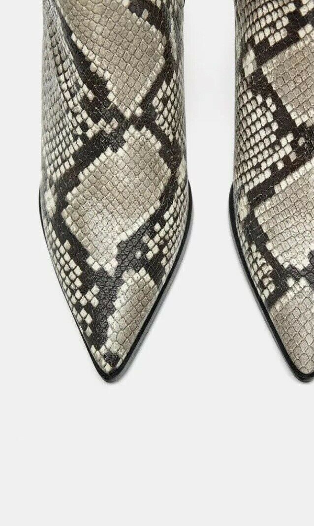 Zara Snakeskin Print Real Leather Leather Leather High Heel Elasticated Ankle Boots, Size 5-BNWT 05dd18