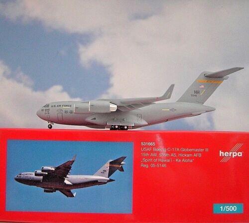 Air Force 05-5146 531665 modellairport 500 Herpa Wings 1:500 Boeing c-17a U.S