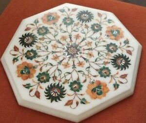 12-034-Marble-corner-coffee-side-Table-Top-floral-precious-stone-inlaid-home-Decor