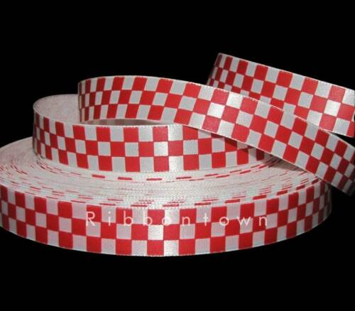 "5 Yards Red White Checkered Nascar Racing Flag Satin Ribbon 5//8/""W"