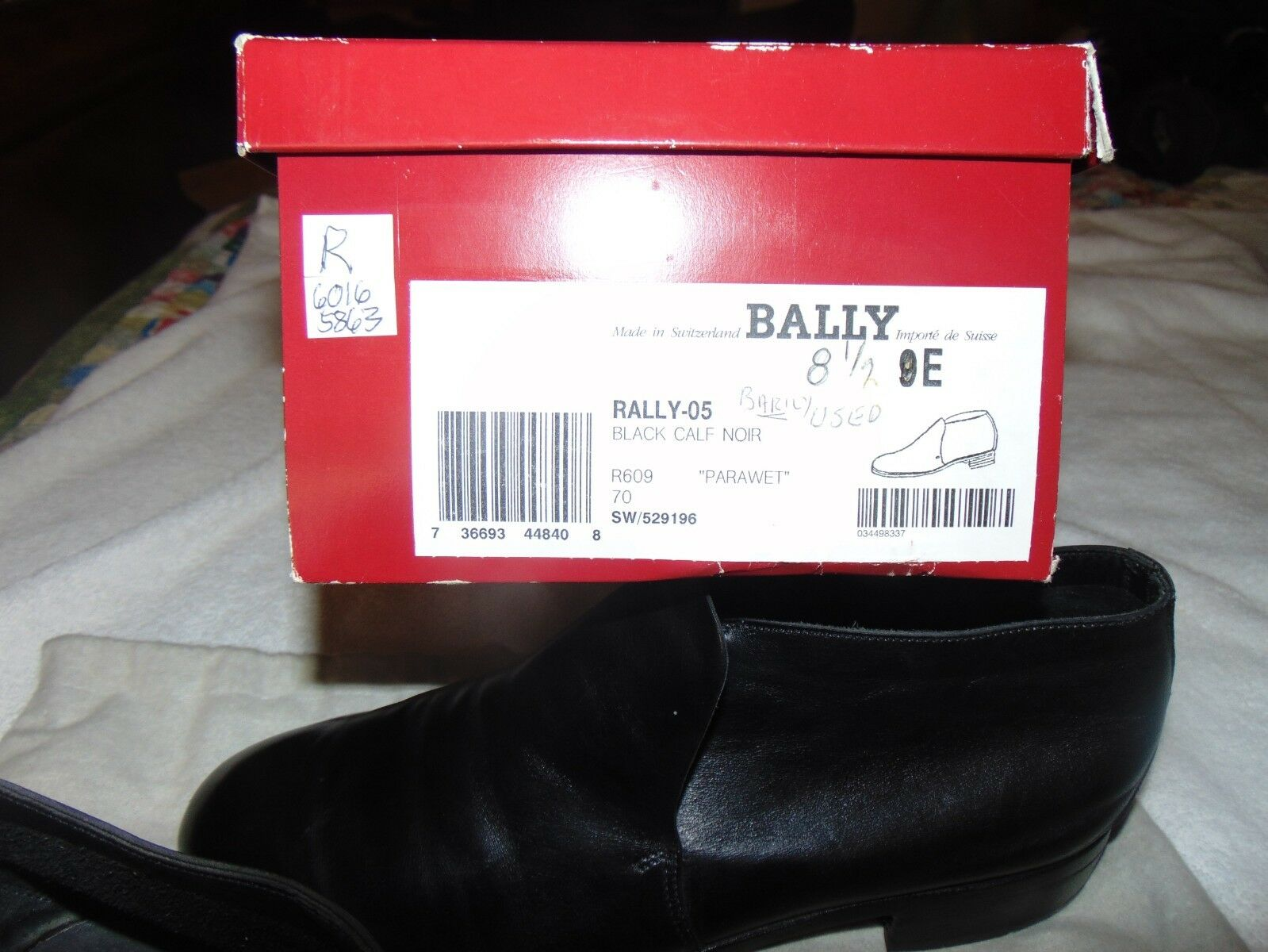 Classic Bally nero Calf Pawaret Rally - 05 nero Calf Calf Calf Ankle avvio W Box 9 D  599 70c518
