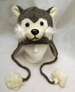 SIBERIAN HUSKY HAT huskies ADULT knit LINED deLux dog costume sled ... 2f29b61bff4