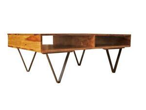 Details zu Design Couchtisch Holz und Metall Industrial Vintage Retro