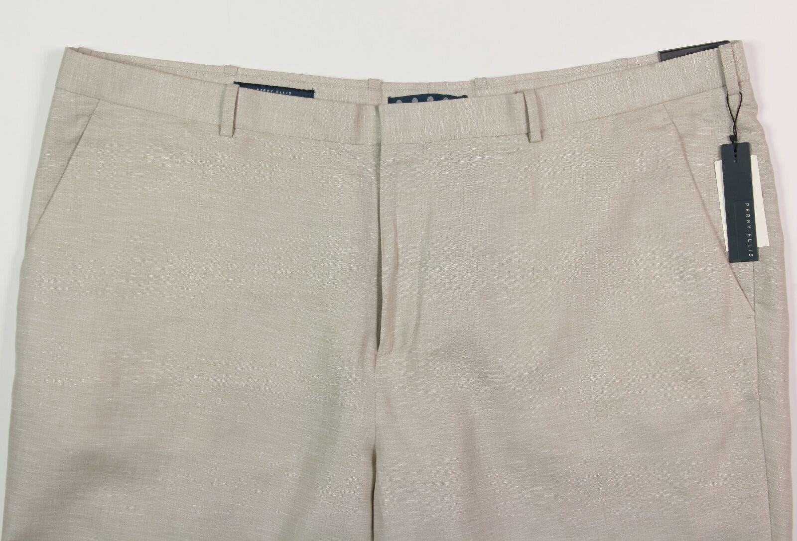 Men's PERRY ELLIS Khaki Casual Dress Linen Cotton Pants 48x32 48 NWT NEW Wow