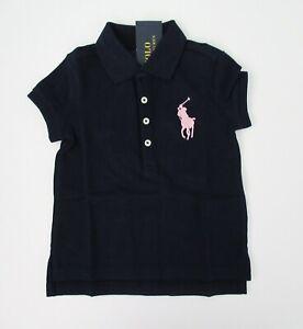 NWT Ralph Lauren Girls S//S White Big Pony Polo Mesh Shirt Sz 2//2t 3//3t 4//4t NEW