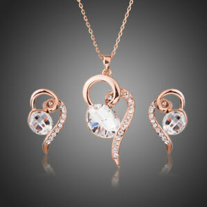 Clear White Austria Crystal Rose Gold Plated Pendant Chain Earring Jewellery Set - West Midlands, United Kingdom - Item must be unused, unworn and in original packaging and condition when return.original postage incurred will be duducted. If you receive faulty or damaged products inform us within 24hrs. Most purchases from business sell - West Midlands, United Kingdom
