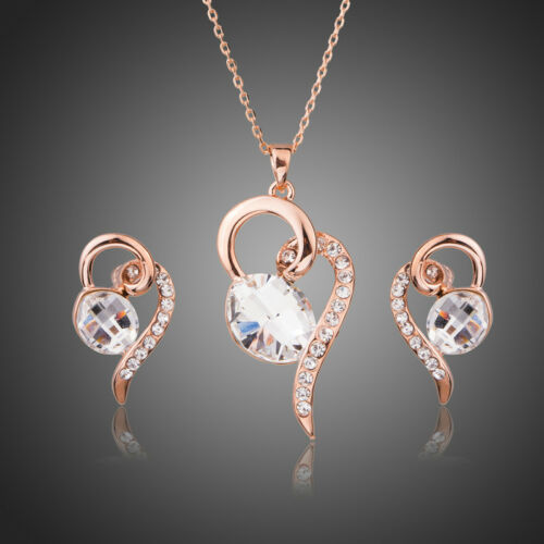 Clear White Austria Crystal Rose Gold Plated Pendant Chain Earring Jewellery Set