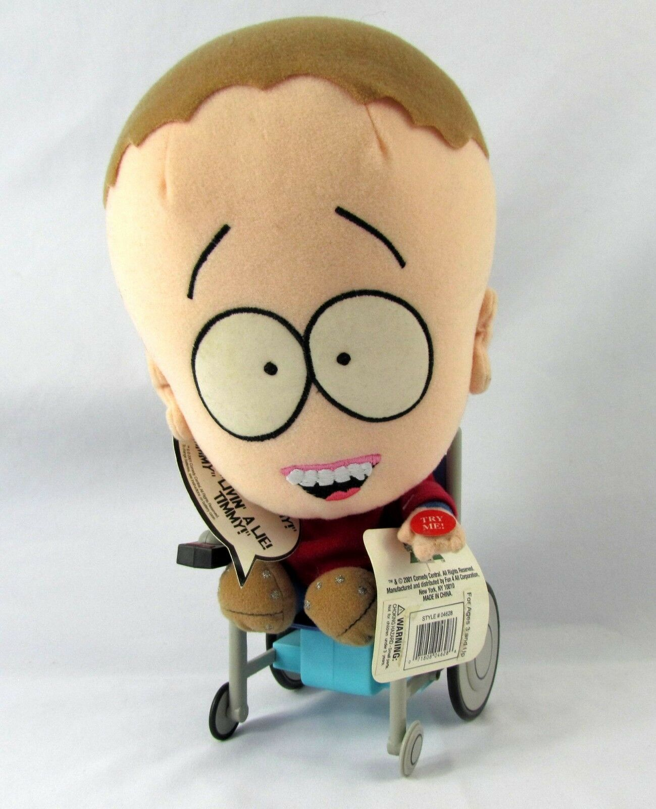 Fun 4 All Comedy Central South Park Talking Timmy Timmy Timmy Wheelchair Plush Tags Clean 28a481