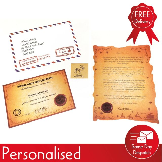 Christmas collection on ebay personalised letter from santa inc reindeer food good child certificate spiritdancerdesigns Choice Image