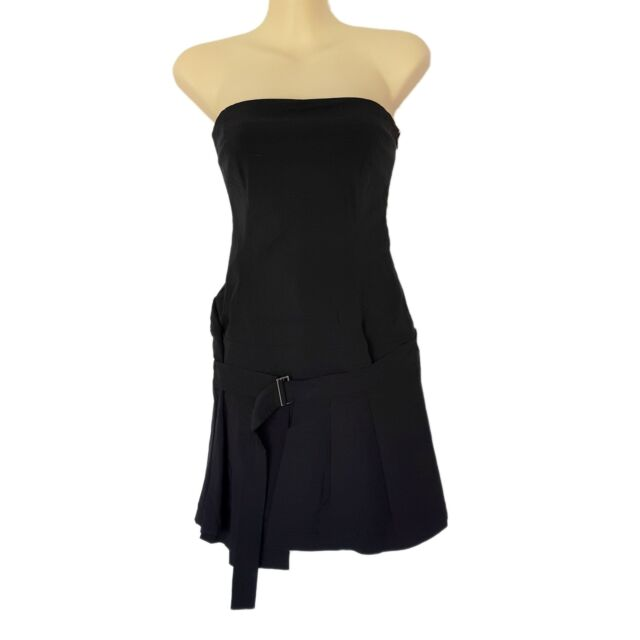 CUE Women's Little Black Dress A-Line Strapless Pleated Party Cocktail Formal