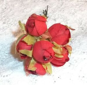 RED millinery Vintage style 6 silk ROSE BUD fabric flowers ALEXANDER dolls HTF