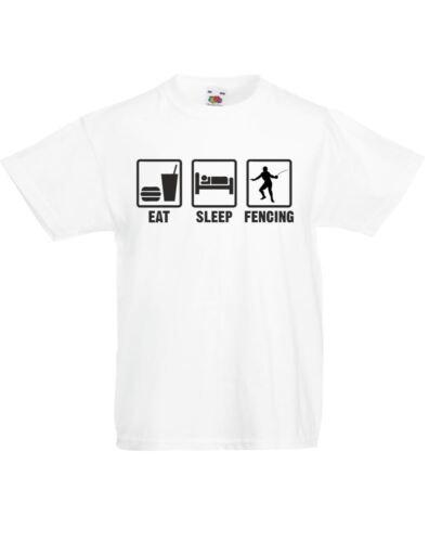 Eat Sleep Fencing Kids Printed T-Shirt Soft Tshirt Girls Boys Crew Neck Tee