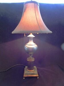 Vintage-Art-Deco-2-Socket-Silver-and-Gold-Lamp-with-Green-ONYX-Base-Table-Lamp