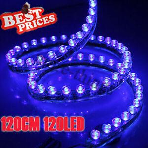 120-Bombilla-LED-Luz-de-tira-flexible-de-PVC-Linea-de-coches-Nueva-12V-Azul