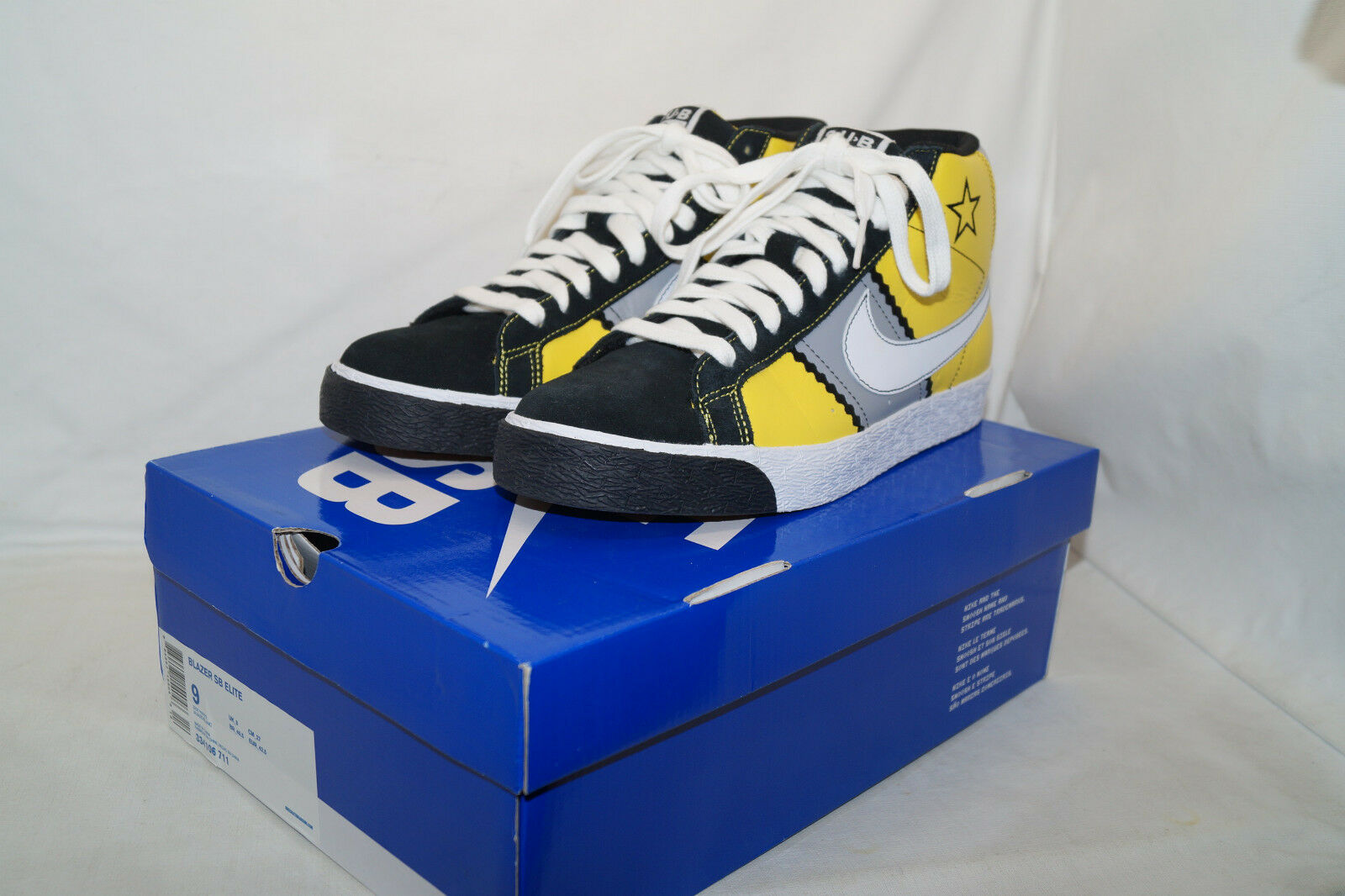 Nike Blazer Sb Elite Sub Pop Taille 42,5 UK 8 Noir Jaune 334106 711 Grunge label