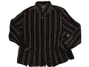 CLAIBORNE-Shirt-Luxe-Men-039-s-LS-Modern-Fit-Black-Striped-Dress-Size-XL-EUC
