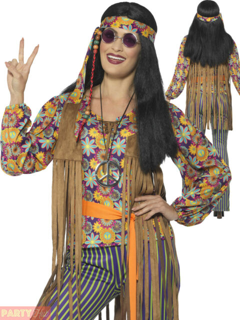 Adults 60s 70s Hippie Costume Mens Ladies Hippy Fancy Dress Womens Retro Outfit