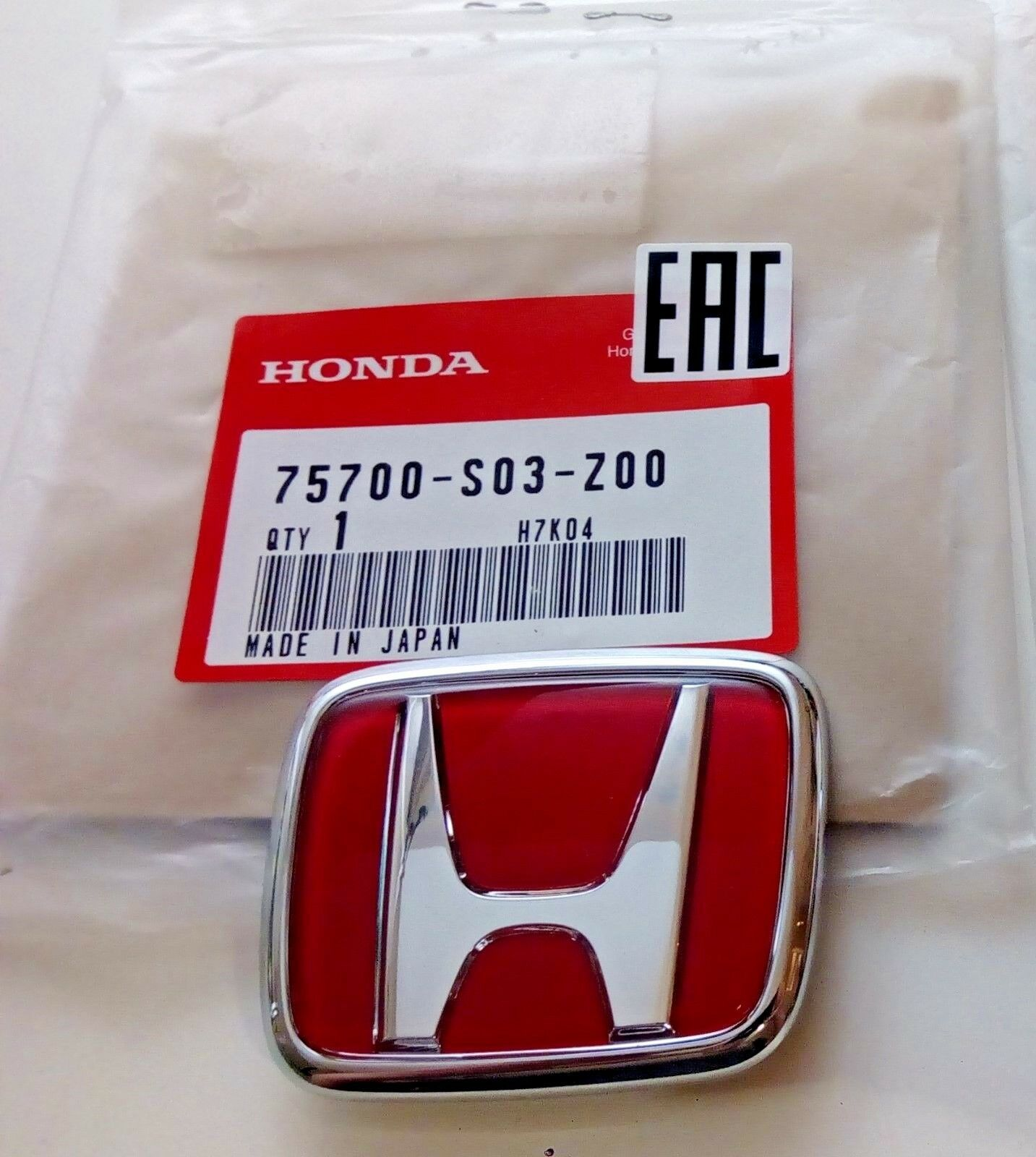Front Emblem Honda Type-R Red Emblem Civic EK9 75700-S03-Z00 OEM Genuine