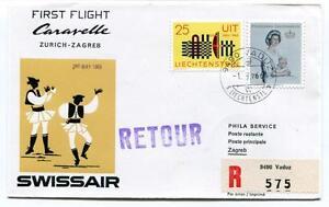 Avoir Un Esprit De Recherche Ffc 1966 Caravelle Swissair First Flight Zurich Zagreb Registered Retour Remise GéNéRale Sur La Vente 50-70%