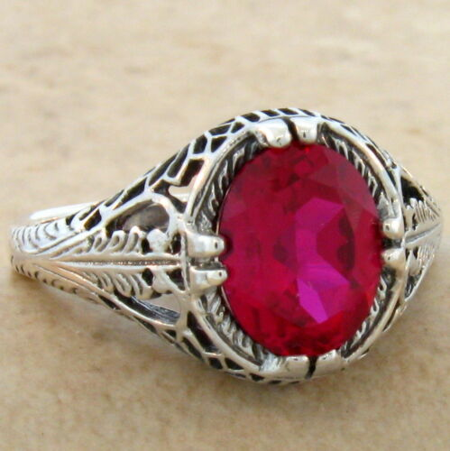 2.5 CT LAB RUBY ANTIQUE FILIGREE DESIGN 925 STERLING SILVER RING SZ 7.75,#690