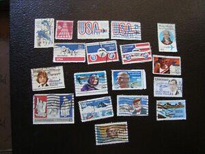 Vereinigte-Staaten-18-Briefmarken-Luft-Gestempelt-A17
