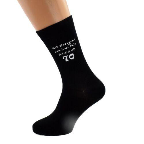 Not Everyone Can Look This Good at 70 Printed Mens Black Socks  70th Birthday