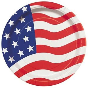 Image Is Loading 4th Of JULY AMERICAN FLAG SMALL PAPER PLATES