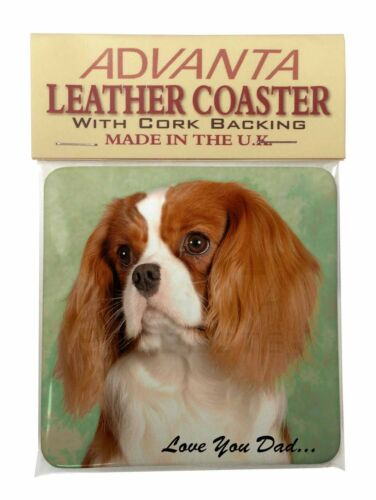 DAD-115SC Cavalier King Charles /'Dad/' Single Leather Photo Coaster Animal Breed