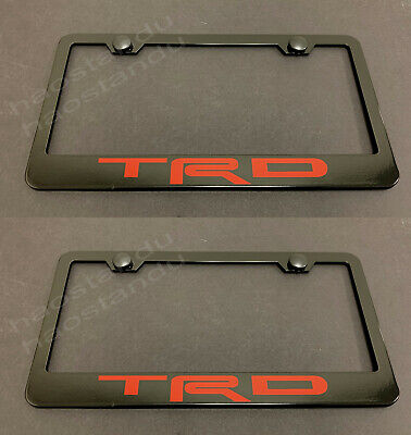 Screw Caps 1x ECLIPSE BLACK Stainless Metal License Plate Frame
