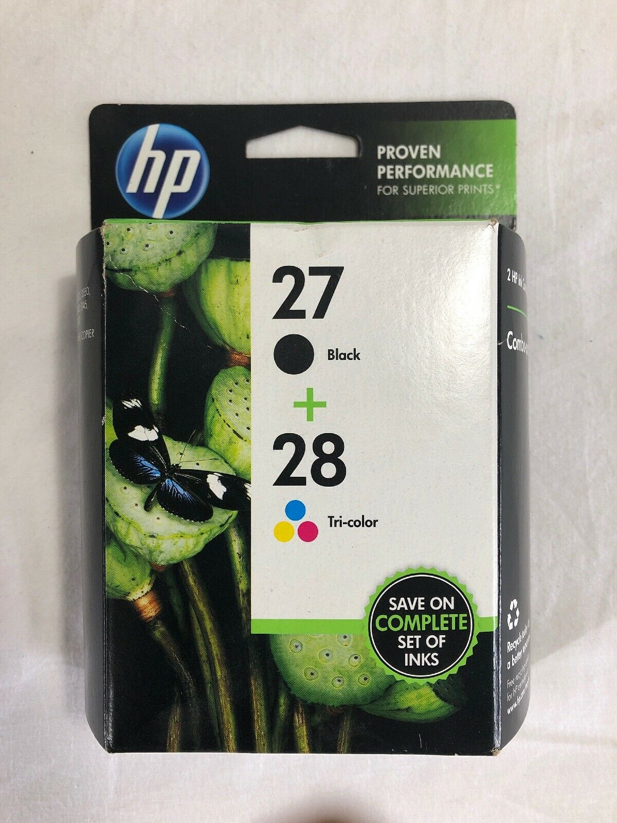 New Genuine HP 27 Black /& 28 Color Ink Cartridge Set Sealed HP Bags Combo