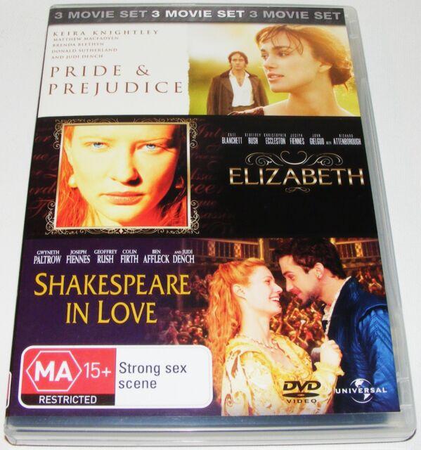 Pride and Prejudice  / Shakespeare in Love  / Elizabeth- (DVD, 2007, 3-Disc Set)