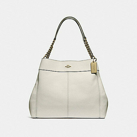 98142ecb01b4 Coach Women's Lexy Chain Shoulder Bag in Refined Pebble Leather - Chalk/Gold