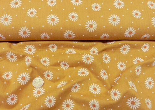 Musselin Daisy senfgelb Baumwollstoff Webware Double Gauze 25 cm