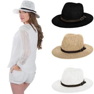 1164595a25d89 Aerusi Women Fedora Summer Beach Travel Straw Sun Hat Wide Brim ...