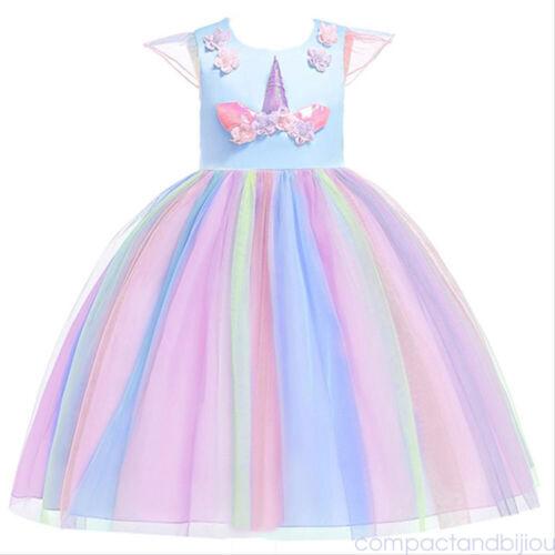 Kids Girls Princess Dress Birthday Cosplay Party Unicorn Fairytale Wedding Skirt