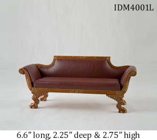 1:12 SCALE LEATHER SOFA DOLLHOUSE MINIATURES by IDM Heirloom Collection
