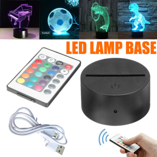 ABS Acrylic Black 3D Colorful Panel LED Lamp Night Base USB Cable+Remote