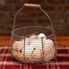 Primitive~Reproduction Antique`Round Farmhouse Wire Egg Basket`` Country House`