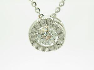 Platinum-Sterling-Silver-034-Dancing-Diamond-034-White-Sapphire-Round-Halo-Necklace