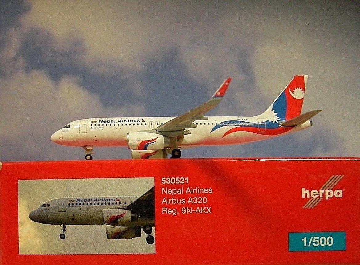 Herpa Wings 1 500 Airbus A320 Nepal Airline 9n-akx 530521 Modellairport500