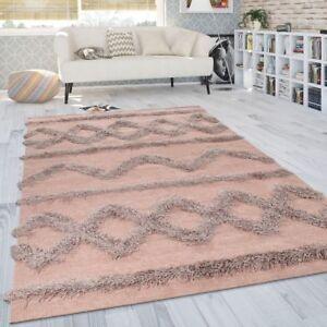 Tapis Salon Shaggy Poils Longs Zigzag Motif Scandinave Uni Rose | eBay