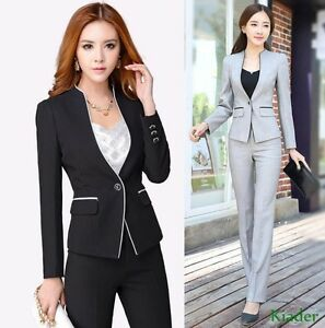 Bukser Fit Ol One Fashion Sæt Suit Buttons Womens Slim Kjolejakker Formelle Frakke TA4WngIqZ