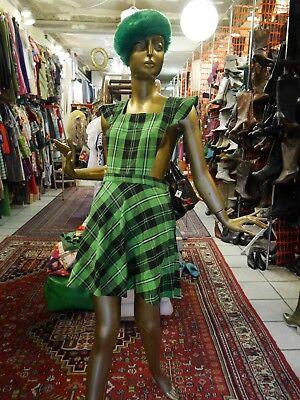 Motivata Patta-abito Xs-s 70er Come 90er Vento Verde True Vintage 70s Mod Tartan Mini Dress- Vendita Calda Di Prodotti