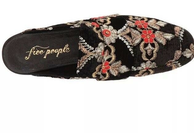 Free People At Ease Brocade Slip On On On Loafer Mule Floral noir Taille 36. 5.5 24c91c