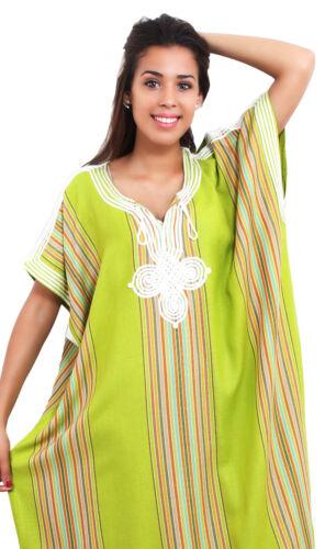 Moroccan Kaftan Caftan Beach Cover Up Summer Dress Casual Linen Sm-Lg Lime