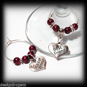 Beautiful Deep red wedding wine glass charms for top table or ...